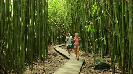 Couple having fun together outdoors on hike through amazing bamboo forest trail.