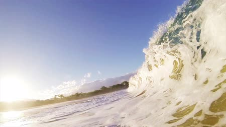 empty beach : Sandy Ocean Wave Crashing on the Beach in Slow Motion Stock Footage