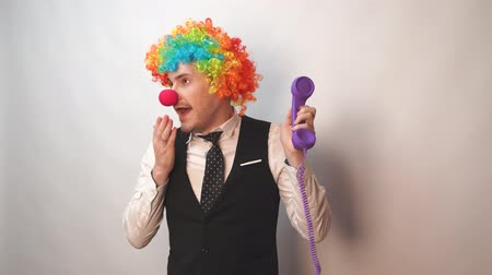 peruka : Office worker in clown wig, clown concept at work. Businessman with clown wig isolated on white
