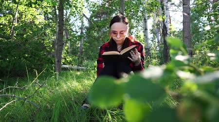 irodalom : Woman reading a book in a green summer forest.