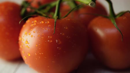 fragrância : Ripe tomatoes with water drops on table. Appetizing ripe red tomatoes with green stems and water drops on wooden background Vídeos