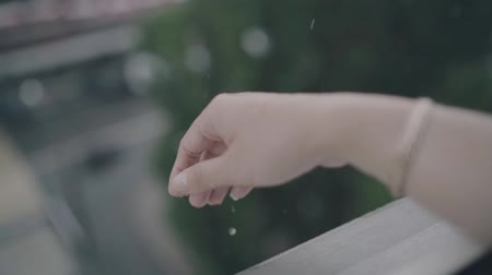 bras tendu : Close up of woman putting her hand in the rain catching drops of rain, water Concept. Vidéos Libres De Droits
