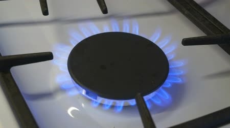 fogão : One gas burners burn blue flame on a gas stove