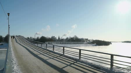 oblouky : VELIKIY NOVGOROD, RUSSIA - FEBRUARY 07, 2017: Yaroslav courtyard on the right bank of the Volkhov River in Velikiy Novgorod, Russia in cold winter day