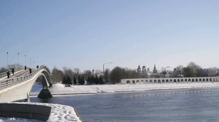 oblouky : VELIKIY NOVGOROD, RUSSIA - FEBRUARY 06, 2017: Yaroslav courtyard on the right bank of the Volkhov River in Velikiy Novgorod, Russia in cold winter day