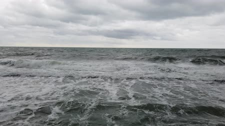 storming : Rough sea on a cloudy winter day Stock Footage