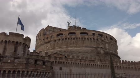 Řím : Rome, Italy - February 03, 2019: Historical monuments of Rome: View of Saint Angel Castle in a cloudy winter day- Rome