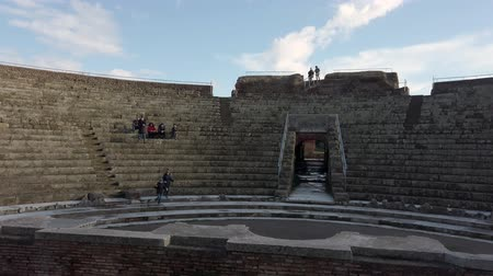 Ostia Antica Rome, Italy -February 03, 2019: Panoramic view of the theater in ancient Ostia located in the homonymous archaeological excavations. Stock mozgókép