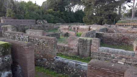 arkeolojik : Archaeological excavations of Ancient Ostia, overview of Republican Warehouses Stok Video