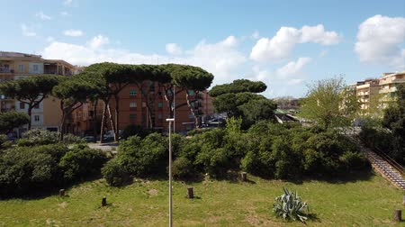 Řím : Ostia Lido Rome, Italy - April 09, 2019: Aerial view of city life in motion timelapse with panoramic view of Gaetano Chierchia bridge, Ostia - Rome Dostupné videozáznamy