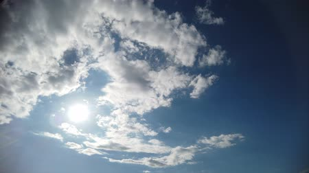 puffy cloud : Timelapse blue sky with white clouds and blue sky