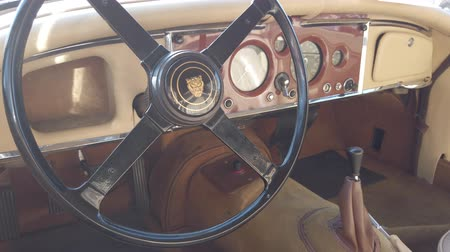 tachometer : Rome, Italy - July 20, 2019: Rome capital city Rally, a public event with exhibition of vintage cars with beutiful car model Jaguar XK150 manufactured by British Jaguar automaker