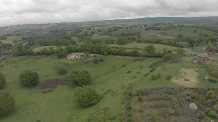 Scenic panoramic aerial view above countryside with oak forests and green valley
