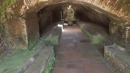grawerowanie : Exploring the interior of the thermal mithraeum in archaeological excavations of Ancient Ostia with statues of the god Mithras killing a bull