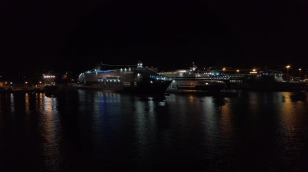 паром : Civitavecchia, Italy - September 19, 2019: Traveling on a September night, having fun in the city.