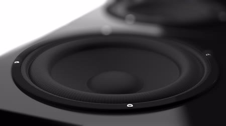 alto falante : Closeup of speaker which beats music rhythm Stock Footage