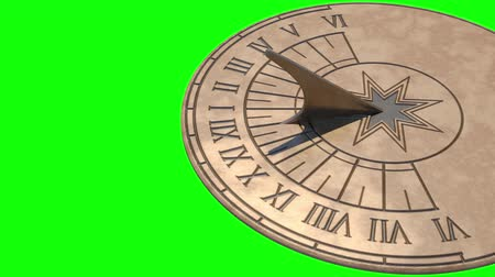 napos : Sundial full day animation (on green screen) Stock mozgókép