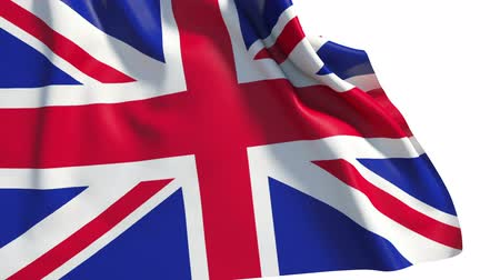 genişlik : Waving UK flag (alpha, slow motion) Stok Video