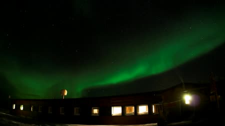 полярный : Northern Lights above the Polar Station - Spitsbergen, Arctic