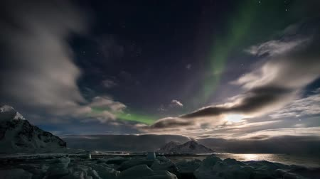noruega : Luces del Norte en el Ártico, Svalbard - INTERVALO Archivo de Video