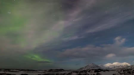 выброс : Arctic Northern Lights landscape - Svalbard Стоковые видеозаписи
