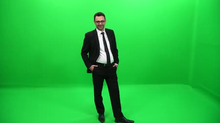 fiscal : Businessman Green Screen Stock Footage