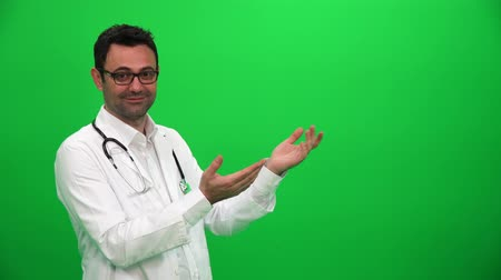 Doctor Making Presenting Gesture With Hands. Left Side.