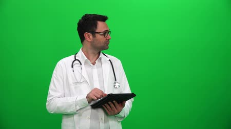 Doctor Presenting With Digital Screen. Left Side.