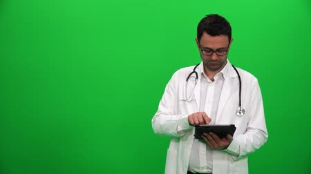 invisible : Doctor Presenting With Digital Screen. Right Side. Stock Footage