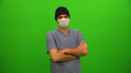 Surgeon or Doctor with Mask on Green Screen