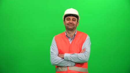 Architect Smiling on Green Screen Vídeos