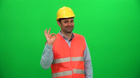 Engineer Man Worker Hand Gesture Ok Sign Vídeos