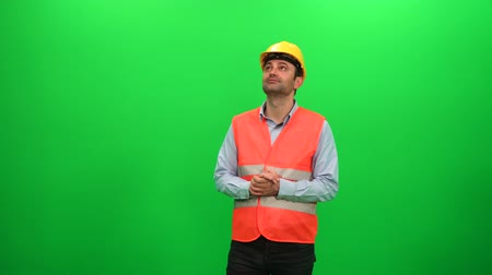 Engineer Man Looking Around Examining Construction Activity on Green Screen Background Vídeos