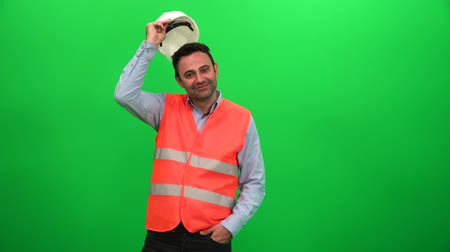 Construction Manager or Engineer Against Green Screen