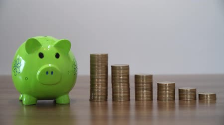 sterlin : Saving Money with a Piggy Bank Stok Video