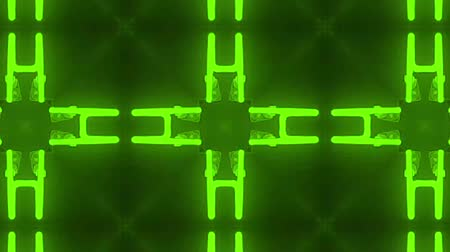 vetor : poly art kaleidoscope Fractal neon green animation footage