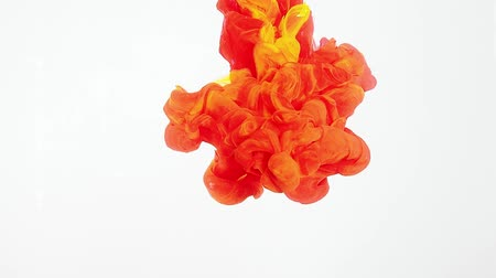 cores vibrantes : Red and Yellow ink moving in water on white background. Acrylic ink swirling in water. Abstract clouds of paint. Shot at 60fps, HD format. Traces of ink dissolving in water, ever changing shape.