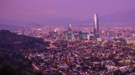 Timelapse of Santiago skyline at Dusk. Two versions, Static and panning Chile