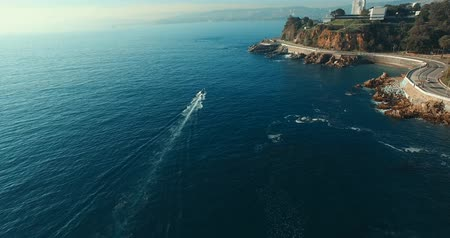 Boat from above. Coast of Valparaiso, Chile Stock Footage