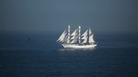 Old Mexican sailing ship Cuautemoc on the Chilean coasts in Valparaiso. Stock Footage
