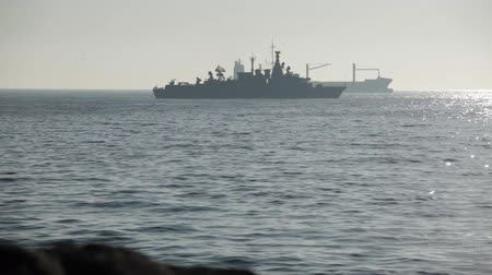 Warship and Cargo Ship on the Sea, Valparaiso, Chile. Stock Footage