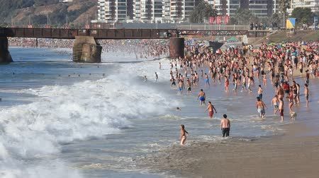 Bathers on the Acapulco Beach in Vina del Mar, During the summer season in the Southern Hemisphere