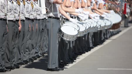 Army Cadet band marching in a parade Stock Footage