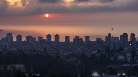Autumn sunset in Vina del Mar, Chile Timelapse. Two versions