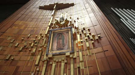 virgem : Painting of Guadalupe Virgin at Guadalupe Shrine on August 15, 2010 in Mexico City. The Basilica of Our Lady of Guadalupe is the second most visited Catholic shrine in the world.
