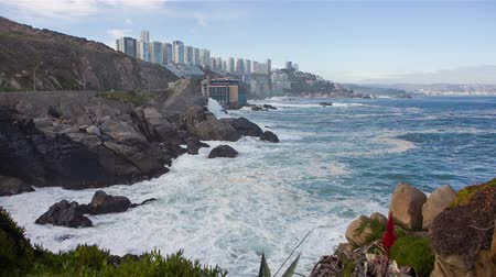 Coast of Vina del Mar during a swell. Chile