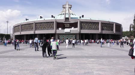 MEXICO CITY, MEXICO - FEBRUARY 11, 2018: Modern Basilica of Our Mary of Guadalupe (1974). Basilica is one of the most important pilgrimage sites of Catholicism, it is visited by several million people every year. Stock Footage