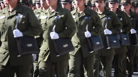 Santiago, Chile - September 15, 2011: Women Police Cadets marching in a rehearsal of the Great Military Parade
