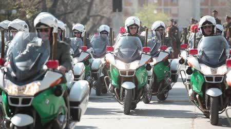 Santiago, Chile - September 15, 2011: Motorized Police in a rehearsal of the Great Military Parade