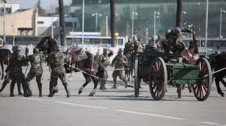 Santiago, Chile - September 15, 2011: Accident with horses pulling an ancient piece of artillery Krupp gun in a rehearsal of the Great Military Parade